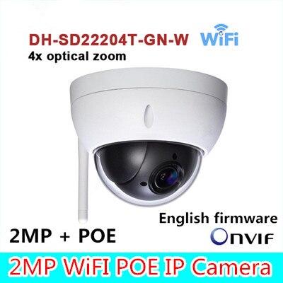 ahua Original SD22204T-GN-W WiFI IP 2MP HD Network Mini PTZ Dome 4x optical zoom POE wireless Camera SD22204T-GN-W without LOGO original dahua 1080p mini ptz ip camera dh sd22204t gn 4x zoom hd network speed dome camera onvif sd22204t gn with power supply