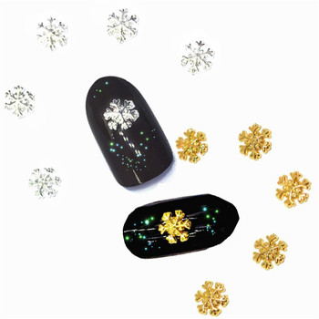 10Pcs Snowflake Nail Art Decoration 3d Charms White Winter Style Studs for Christmas Metal Bling Manicure Diy Kawaii Accessoires image