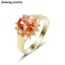 Gorgeous Male Female Finger Ring Champagne Flower CZ Ring Vintage Gold Wedding Rings For Men And Women Fashion Jewelry Anel 2018