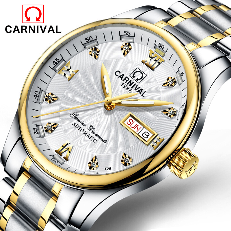 Carnival Green Tritium Watch Men Automatic Mechanical Luminous Gold Stainless Steel Waterproof Date Week Watches original binger mans automatic mechanical wrist watch date display watch self wind steel with gold wheel watches new luxury
