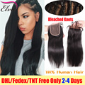 7A Lace Closure Straight Brazilian Virgin Hair Lace Closures Bleached Knots,Human Hair Closure With Baby Hair,Lace Front Closure