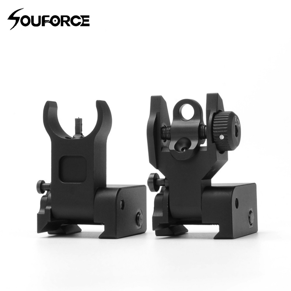 USA 1pair Flip Up Front Rear Iron Sight Set Dual Half Moon Shape BUIS Sights Fit 20mm Mount Of Hunting Gun Accessory