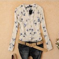 Women's Fashion Bird Print Blouses Tops Ladies Chiffon Turn-down Collar Birds Printed Blouse Shirt Blusas Femininas