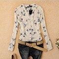 Pájaro de La Moda de Impresión de las mujeres Blusas Tops Gasa de Las Señoras Birds Collar-baje Impresas Blusa Blusas Femeninas