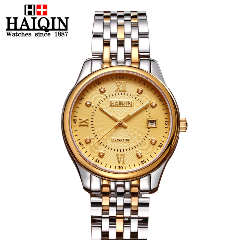 ФОТО Hot sale 2016 Business Mens Watches Top Brand Luxury Stainless Steel 18k Gold Mechanical Wristwatch waterproof Relogio Masculino