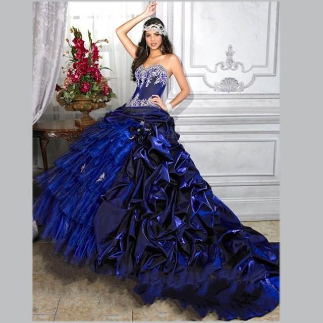 Azul Royal Vestidos Quinceanera Debutante Masquerade Bola Vestidos Plissados Contas Anos Sweet 16 Vestidos Custom Made