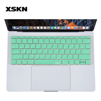 XSKN Hebrew Mint Green Keyboard Protective Sticker Silicon Skin For New Macbook Pro 13 A1708 No