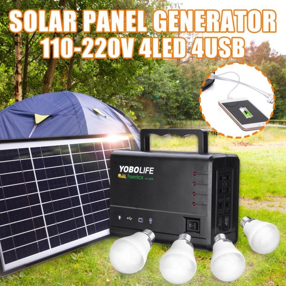 Générateur portatif tenu dans la main de stockage d'énergie de panneau solaire avec l'ampoule lumière LED