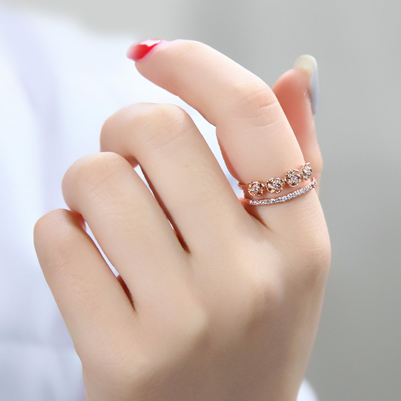 Chao Man's index finger 925 Silver Open Ring Rose Gold Ring Mouth Simple Temperament Female Little Ring(China)