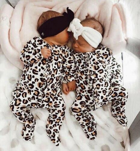 2020 Baby Boy Girl Leopard Cotton Soft Jumpsuit Footies Sleepwear Sleeping Suit For Kid Clothes Toddler Children Newborn Infant