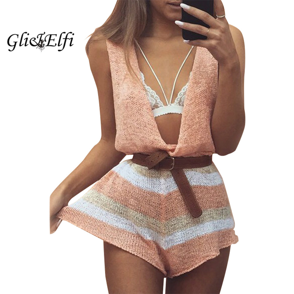 Pink Rompers Womens font b Jumpsuit b font Shorts Sexy Low Cut Tulum Party Wind Cropped