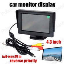 4.3 Inch color TFT LCD Screen 2-Channel Video Input Car Monitor Support rear camera reverse priority car monitor display