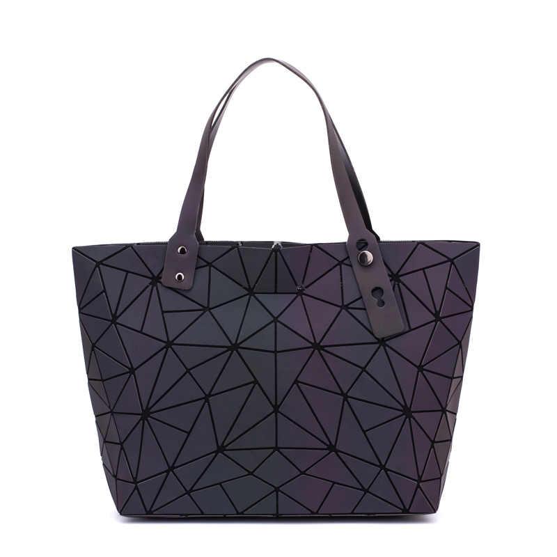 Women Bags Handbag Geometry Totes Sequins Mirror Plain Folding Shoulder Bags Luminous Bags Hologram bolsa feminina 2019 New