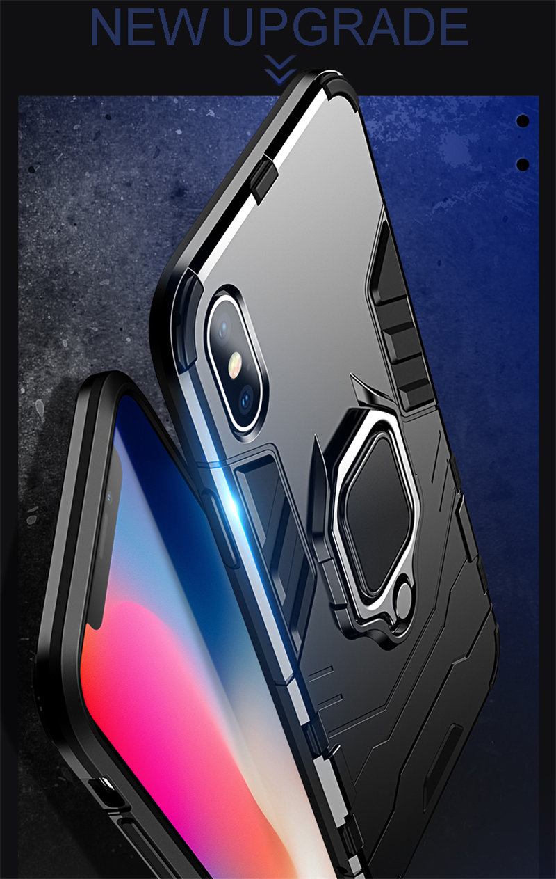 Luxury Armor Shockproof Kickstand Phone Case For iPhone XS MAX XR XS X 8 7 6S Plus 5S SE Ring Stand Holder Bracket Cover Funda (6)