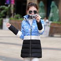 New Women Down Jacket 2015 Elegant Winter Wadded Rabbit Fur Collar Long Style Coats Female Slim Snow Parkas Warm Outerwear