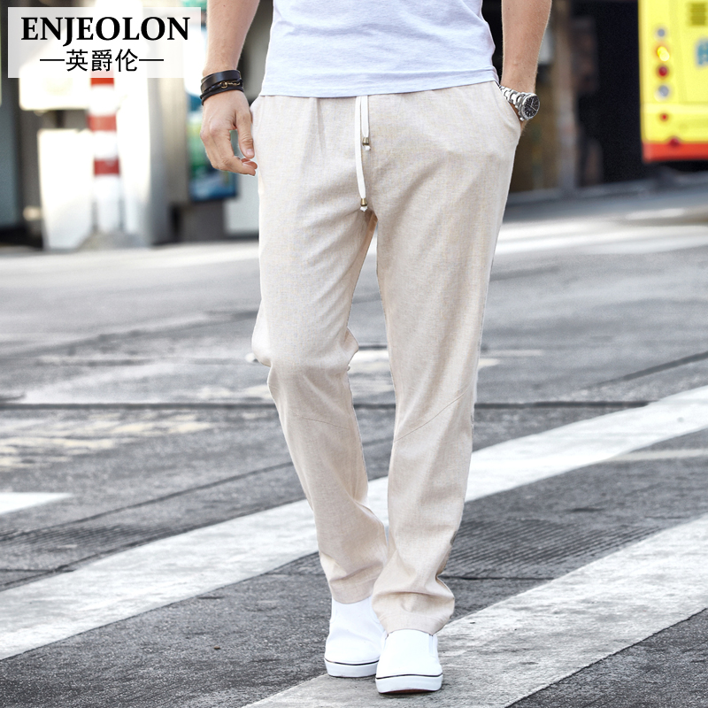 Enjeolon brand long trousers casual pants men, high-quality fashion linen clothing Straight males Causal clothes K1005