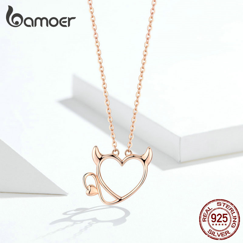 BAMOER New Collection 100 925 Sterling Silver Devil Wings Red CZ Necklaces Pendant For Women Fashion BAMOER New Collection 100% 925 Sterling Silver Devil Wings Red CZ Necklaces Pendant For Women Fashion Silver Jewelry SCN286