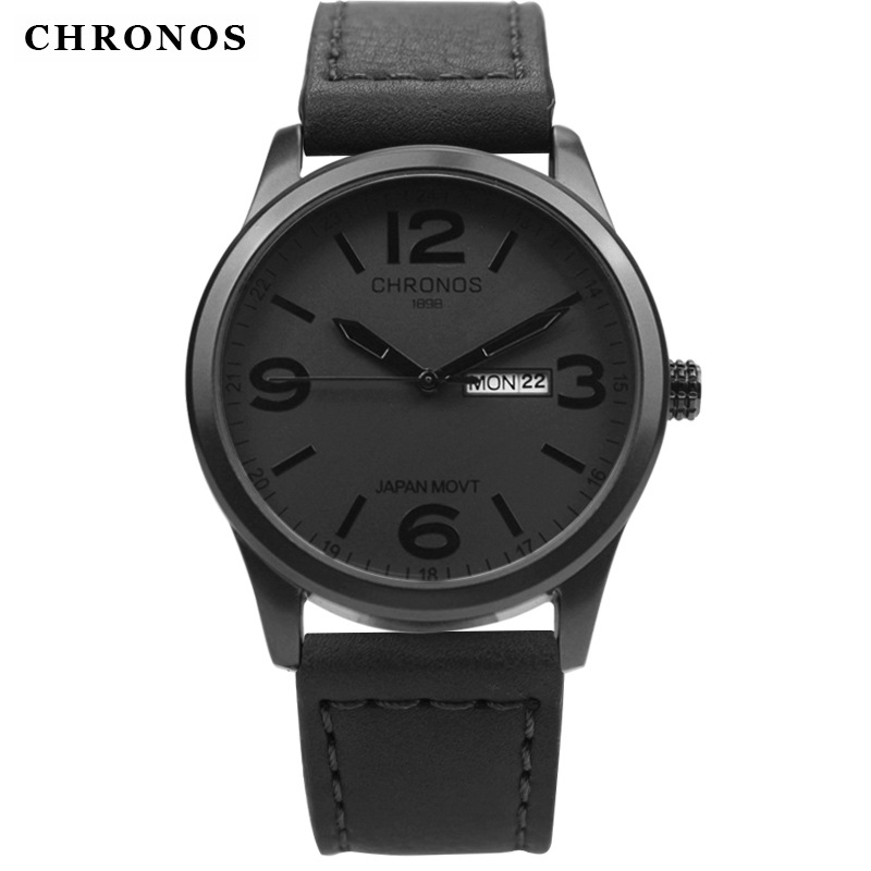 все цены на CHRONOS Top Brand Luxury Watch JAPAN MOVT Men's Watch Men Watch Date Week Leather Clock saat relogio masculino erkek kol saati онлайн