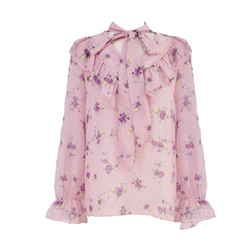 Spring summer peachy pink flower print chiffon blouse tie ruffles spring summer peachy pink flower print chiffon blouse tie ruffles shirt women top chemise femme chemisier blusa mujer camisa in blouses shirts from mightylinksfo