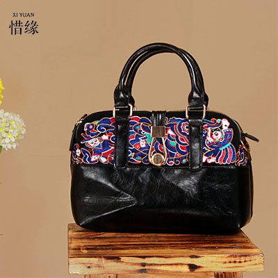 Фотография XIYUAN BRAND ladies beautiful and high-grade Imports PU leather national floral embroidery shoulder crossbody bags for women