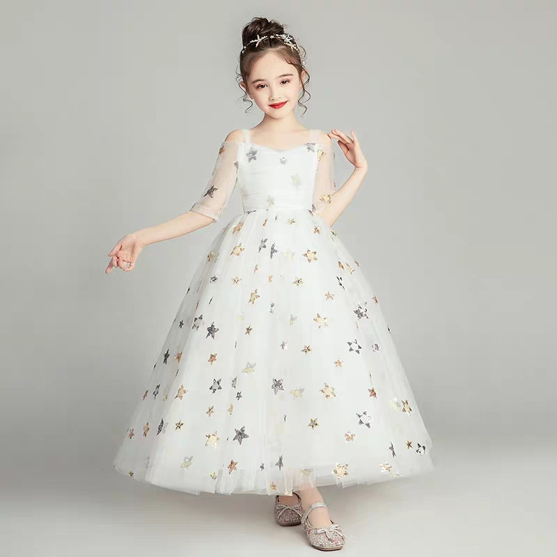 2019Spring Summer White Children Girls Wedding Birthday Party Princess Long Puffy Dress Kids Teens Elegant Korean Sweet Dress