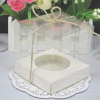 500pcs 9*9*9cm Transparent PVC Cupcake Boxes With Base Inside Muffin cake box WA1963