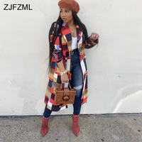 Geometric Pattern Sexy Long Jacket Women Turn Down Collar Long Sleeve Maxi Outerwear Autumn Winter Contrast Color Casual Coat