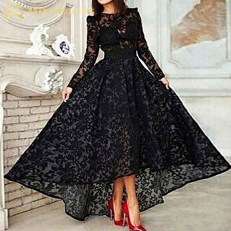 Zwarte lange jurk met lange mouwen