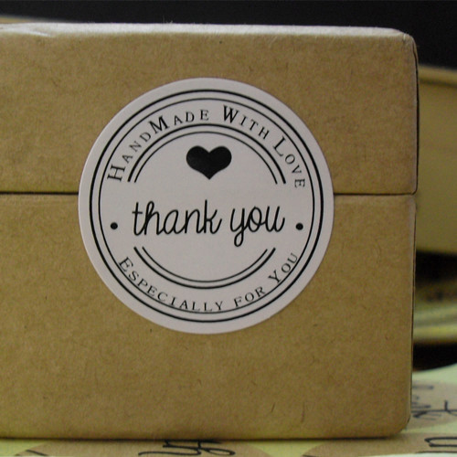 (Thank you Handmade with love Especially for you )Packing Sealing label White Material Sticker Round 30mm Adhesive stickers 18mm round lead free packing rohs label stickers 15 x 50 pack