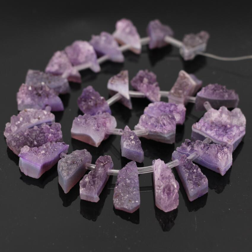 Approx27pcs/Strand Geode Quartz Druzy Top Drilled Freeform Slab Nugget pendant Beads,Raw Crystal Drusy Slab Slice Nugget Beads