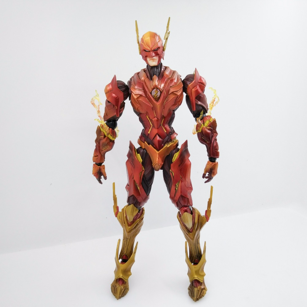 The Flash Action Figure Play Arts Kai Flash Armor Ver NO 4 PVC Toys 27CM Movie Model Heavily-armored Barry Allen Playarts Kai halo 5 guardians play arts reform master chief action figure