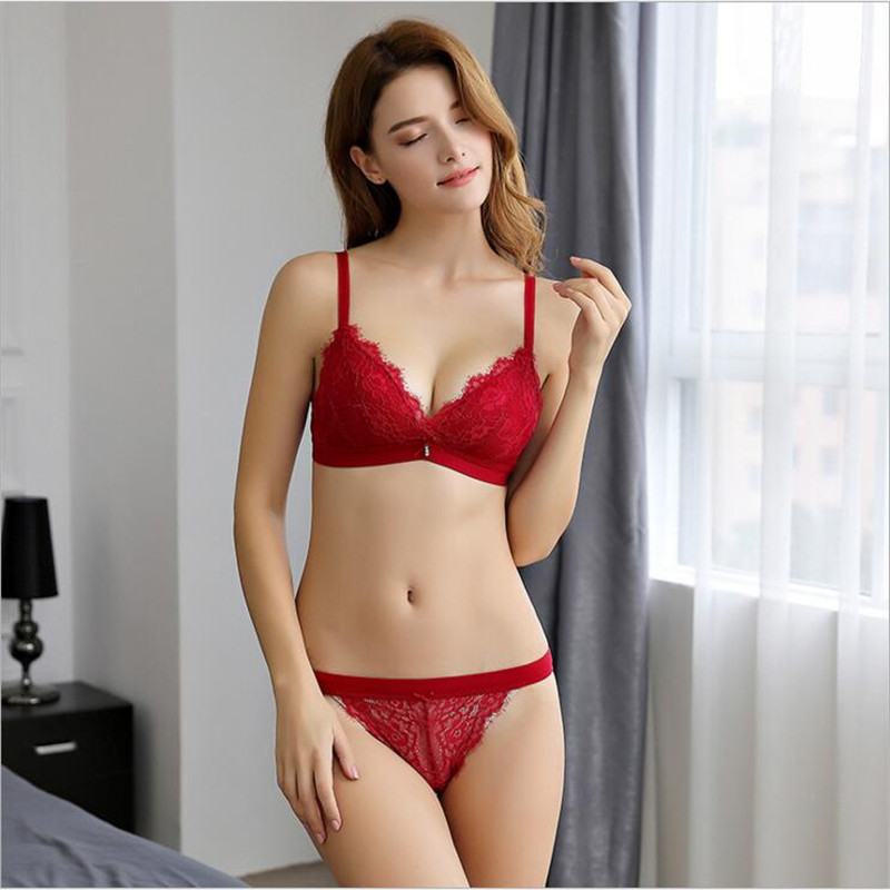 ce8d2b1597 HGHISYU new lady lace sexy lingerie bra set 4 color black white red powder  32ABC+S 34ABC+M 36ABC+L 38BC+XL