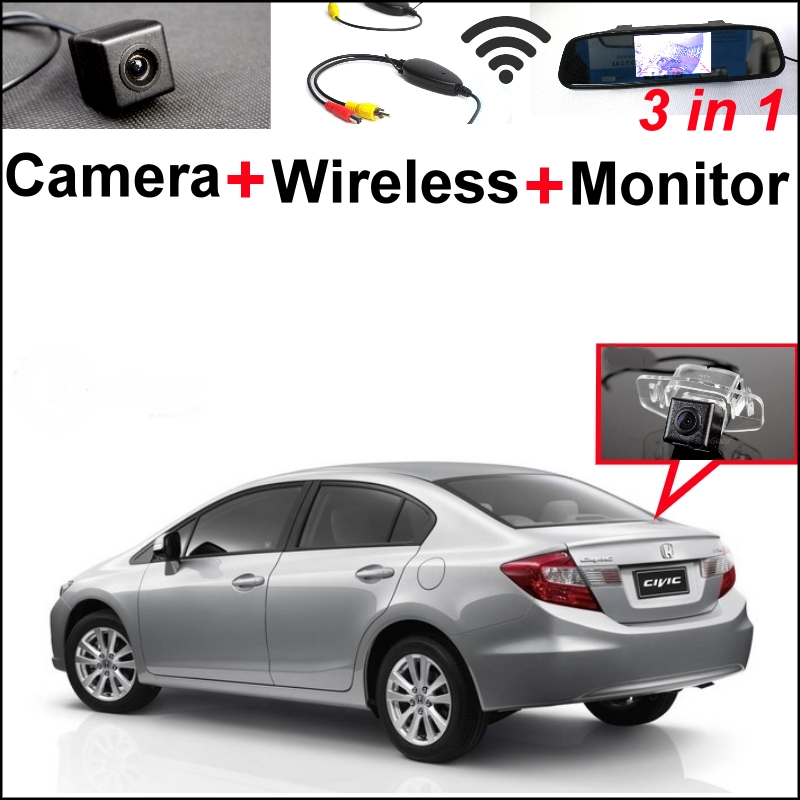 3 in1 Special Rear View Camera + Wireless Receiver + Mirror Monitor Easy DIY Backup  Parking System For Honda Civic 2012~2015 wireless pager system 433 92mhz wireless restaurant table buzzer with monitor and watch receiver 3 display 42 call button