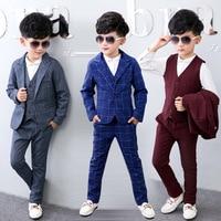 3pcs Jacket Vest Pants 2017 New Fashion Toddler Kids Boys Plaid Formal Party Weddings Tuxedos Boys
