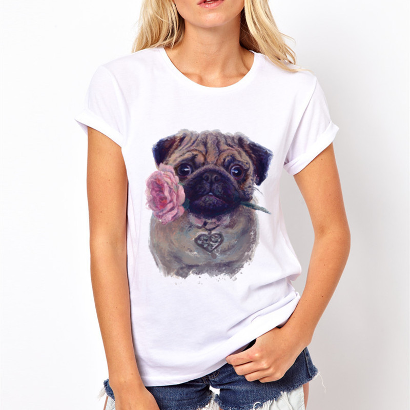 b183c79fc3 Women Vintage Flower Pug Pinted T-shirts 2017 Summer Anime White Tee Shirts  Retro Pug Casual Women Tops Tee Brand Clothing LY047