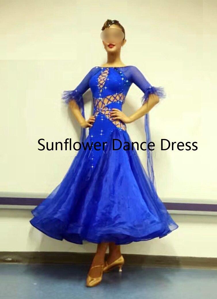 Nouvelle Concurrence salle de bal robe de danse Standard, vêtements de danse, usage d'étape, femmes vêtements de danse, salle de bal De Danse Robe, bleu royal