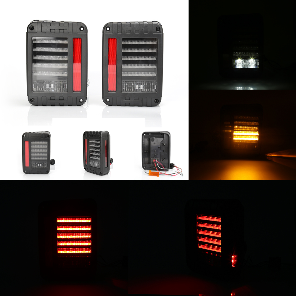 An Pair Of Car Rear LED Brake Turn Singal Reverse Tail Lights System Non-destructive Modified For Jeep Wrangler JK 2007-2016 j184 lantsun pair of foot pegs for 2007 2016 jeep wrangler jk 2dr 4dr