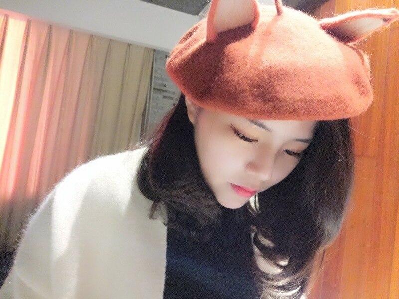 New Retro Women's Cute Fox Ear Beret Caps Wool Blend Casual Warm Painter Hat Handmade Nick Cat Ear Beret Hat Hot Gift