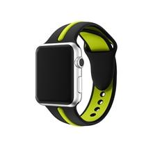 Esporte silicone strap Para apple watch 4/3/2/1 iwatch 42 (44) mm/38 (40) mm Duplo cor pulseira de borracha pulseira