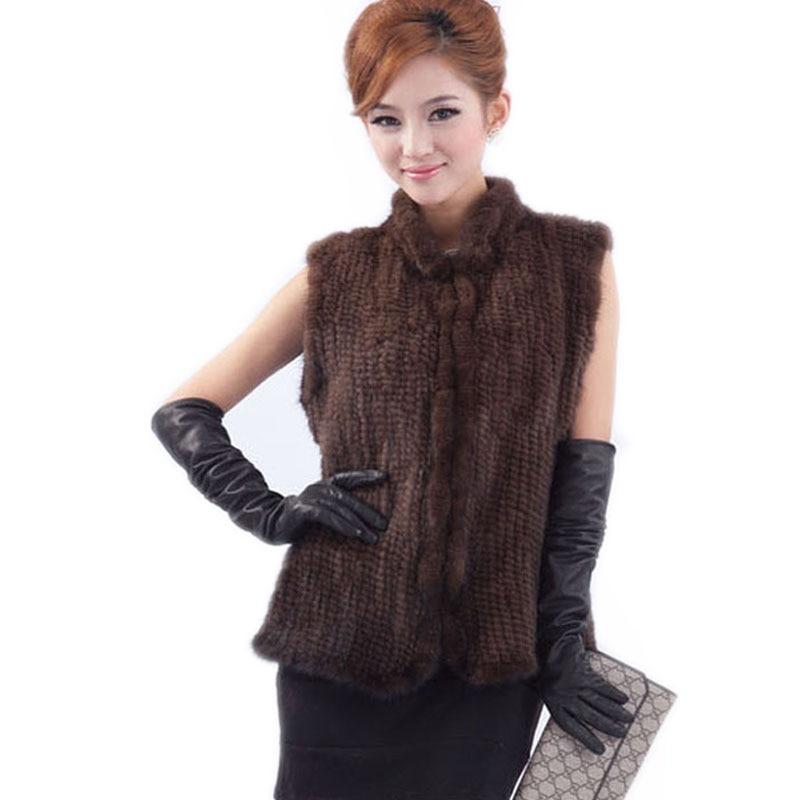 New arrivals genuine mink fur vest women knitted mink fur jacket winter mink waistcoats Free Shipping