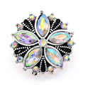 New KZ1325 Beauty charm AB crystal Flowers pattern 18mm charm snap buttons fit DIY snap jewelry wholesale