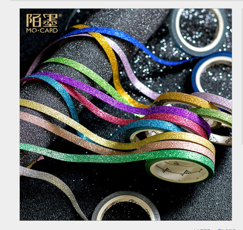 5mm The Gift From Stars Gold Onion Powder Glittering Ribbon Pure Decoration Christmas Washi Tape DIY Planner Masking Tape Escola