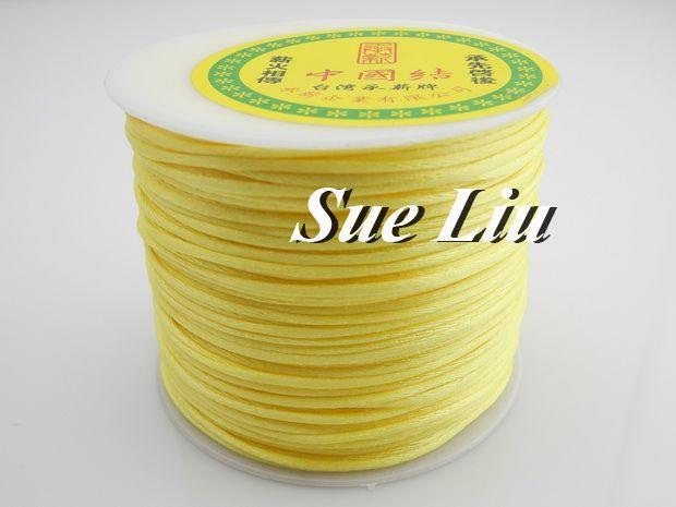 100yds 2mm Lt Yellow Rattail Satin Cord Chinese Knot Beading Cord: Nylon NCN6S