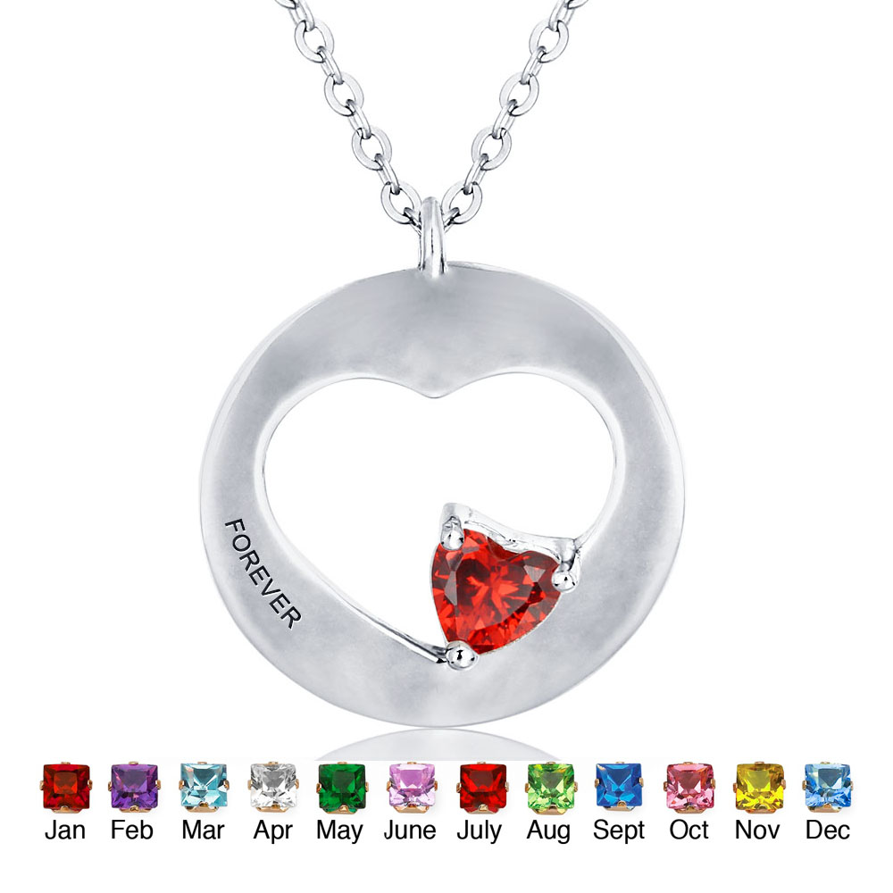 Personalized birthstone necklaces round heart shape 925 sterling personalized birthstone necklaces round heart shape 925 sterling silver best birthday gift fine jewelry ne101300 in necklaces from jewelry accessories aloadofball Images