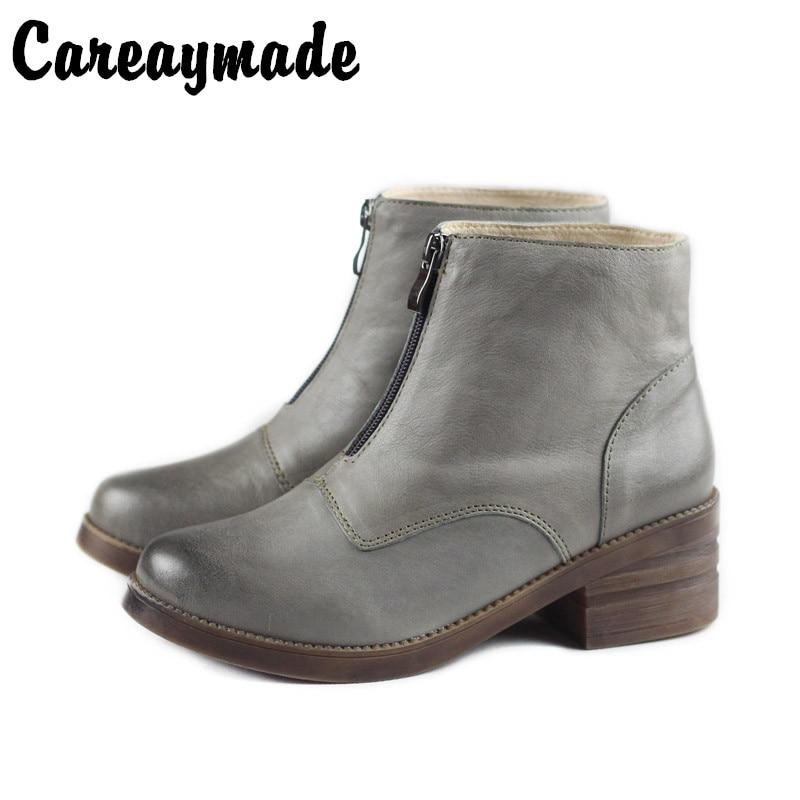 Careaymade Front zipper retro ins Martin boots Autumn and Winter velveted Korean version British high heel