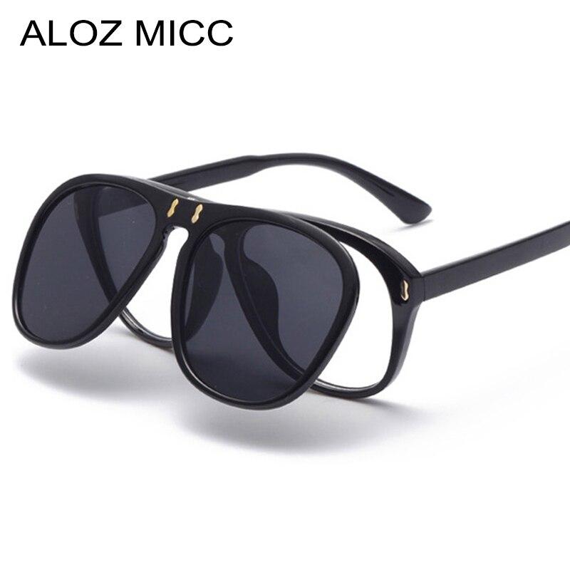ALOZ MICC Neue Ankunft Mode Flip Sonnenbrille Frauen Männer Einzigartige Übergroßen Quadratischen Sonnenbrille Clamshell Zwei Objektiv Brillen Q344