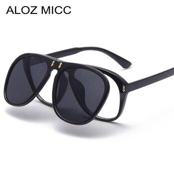 dc450537990 ALOZ MICC New Arrival Fashion Flip Sunglasses Women Men Unique Oversized  Square Sun Glasses Clamshell Two Lens Eyeglasses Q344
