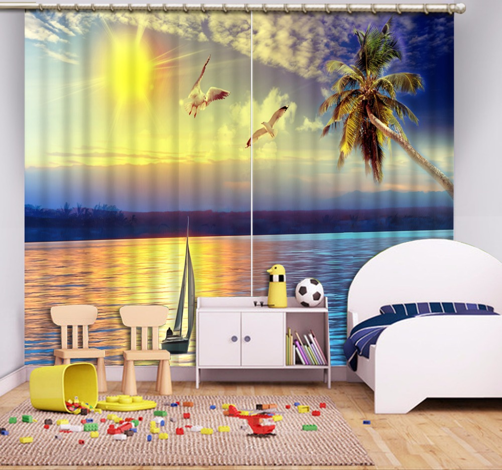 3D Curtain Photo Customize Size Seascape Sunset Scenery Curtains Curtains Palm Boat 3D Curtain Blackout Shade Window