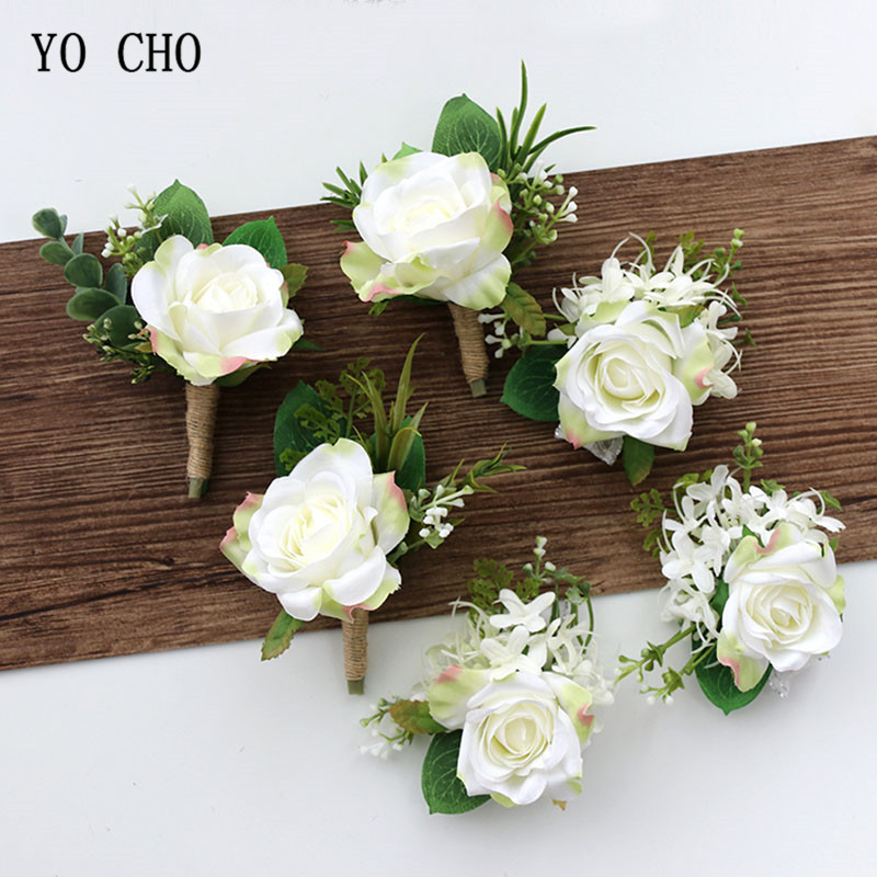 YO CHO White Silk Roses Corsages Boutonnieres Wedding Decoration Marriage Rose Wrist Corsage Pin Boutonniere Flowers for Guests fake rose flowers