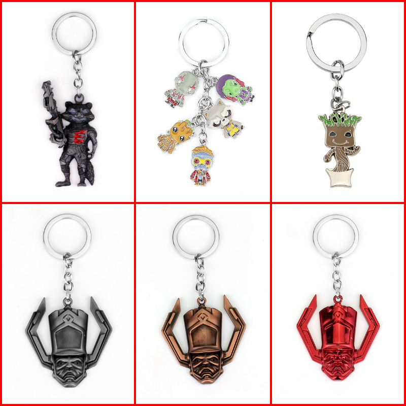 Guardians of the Galaxy Keychain Guardians of the Galaxy Action Figure Pendant Rocket Raccoon Mini Metal Model Key Chains Gift